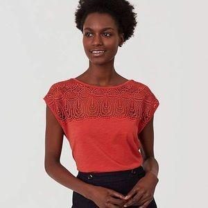 3/$30 LOFT Orange Mosiac Lace Yoke Tee Size Large